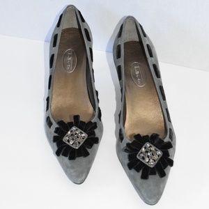 Talbots Gray Suede Pointed Toe Kitten Heels